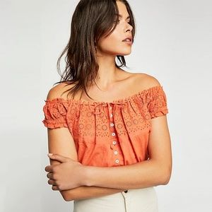 FREE PEOPLE EYELET YOU A LOT CROP TOPS